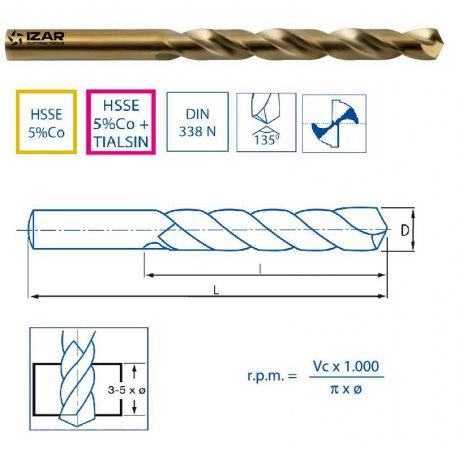Brocas cilíndricas curtas para materiais duros de 10,40 até 11,20mm