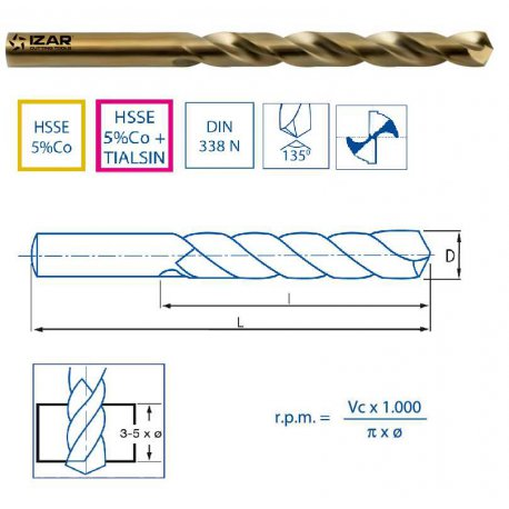 Brocas cilíndricas curtas para materiais duros de 12,90 até 15,00mm