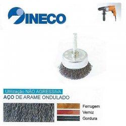 Escova taça com haste de arame ondulado Aço