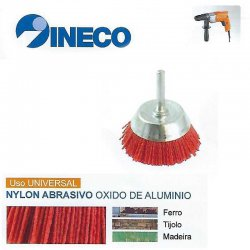 Escova taça com haste de arame ondulado Nylon Abrasivo